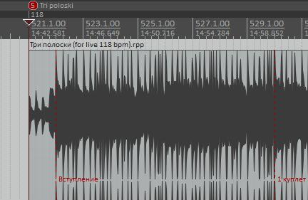1. Темпо-метка для правильного клика метронома и маркер с названием текущего трека.